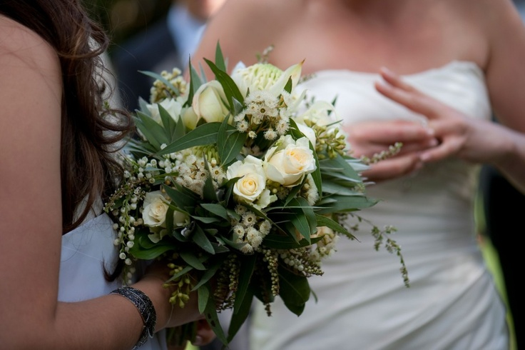 Funky native and rose bouquet white warath, flowering gum, andromeda (piros) white roses creamy and lily of the valley