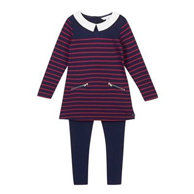 J by Jasper Conran Girl's navy striped tunic and leggings set- at Debenhams.ie