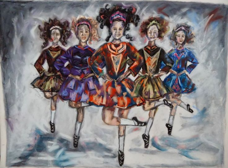 Buy Irish dancers, Pastel drawing by Anna  Sasim on Artfinder. Discover original art for sale, paintings, prints and photography from independent artists. Soft pastel art on Pastelmat paper, woman drawing, woman painting.