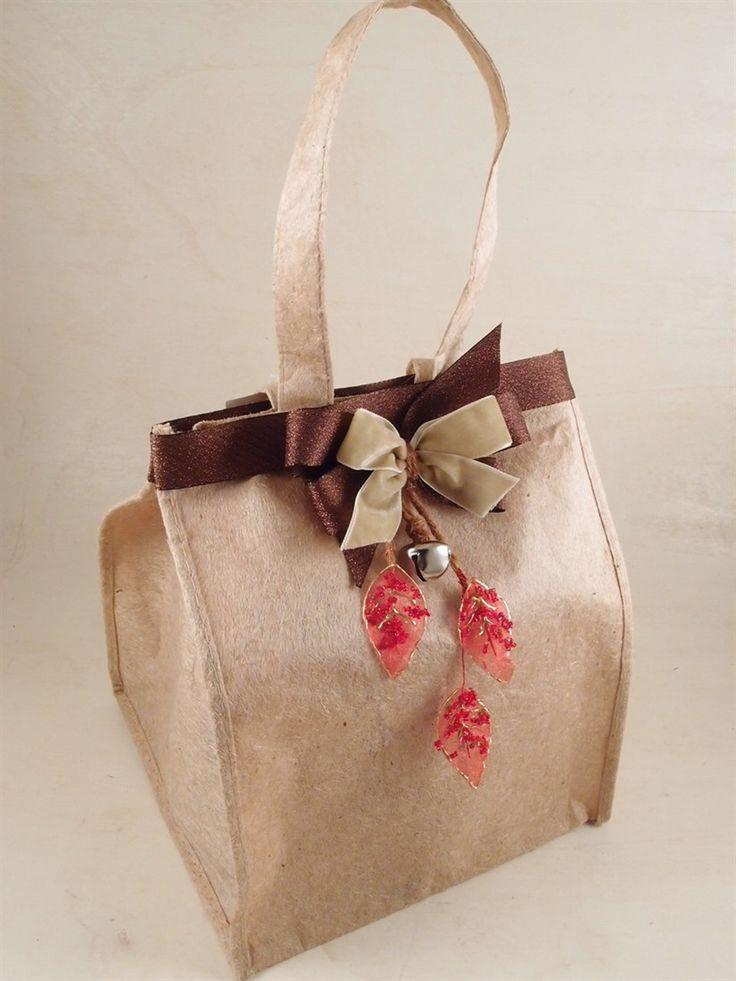 Sacco porta panettone, con fiocchi, campanella e foglie glitterate. Esempi, idee e spunti su Guerrini Mauro - Shop OnLine