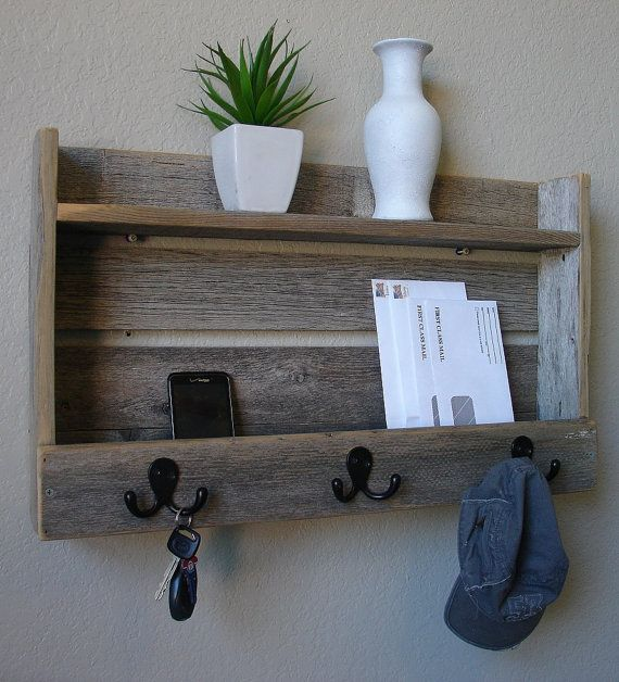 Rustic Entryway 3 Hanger Hook Coat Rack with Shelf and Mail Phone Key Organizer on Etsy, $65.00