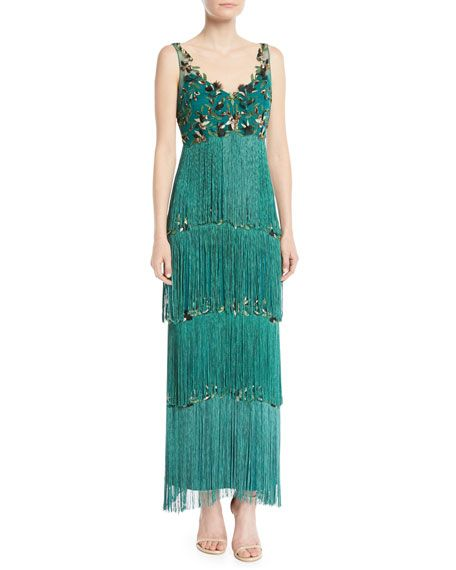 17093418a1 Marchesa Notte Sleeveless Embroidered Fringe Gown in 2019 | Dresses ...