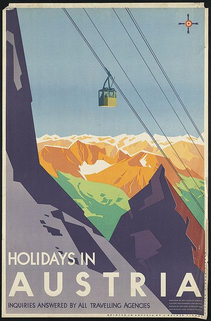 Title: Holidays in Austria    Creator/Contributor: Binder, Joseph, 1898-1972 (artist)    Created/Published: Vienna : Published by the Austrian Federal Ministry for Commerce and Traffic, Bureau of the State Secretary for Employment and Tourist Traffic (Printed at J. Weiner)    Date issued: 1910-1959 (approximate)