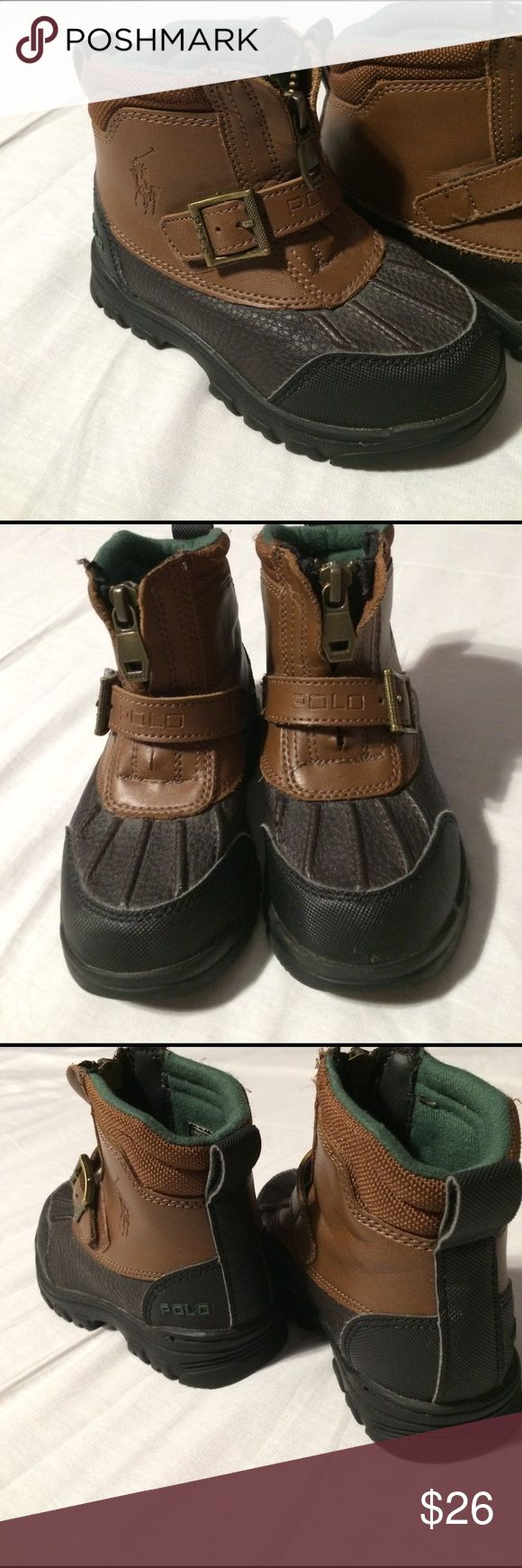 Kids POLO Ralph Lauren duck boots! Sz.8! Clean! Super Clean brown and black polo Ralph Lauren kids duck boots! In great condition! No signs of heavy wear! Zippers and buckles are mint! Soles have no wear and are perfect! Condition: 10/10 Sz. 8 kids! Polo by Ralph Lauren Shoes Boots
