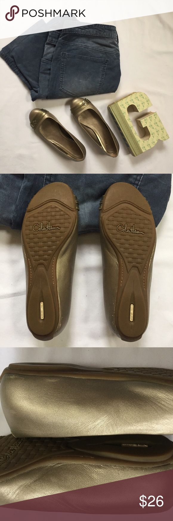 Cole Haan Nike Air Sole Gold Ballet Flats size 7 Buckles on vamp  Excellent, pre-owned condition, soles untouched  Tiny amount of wear along sides right above sole (see pic) Cole Haan Shoes Flats & Loafers