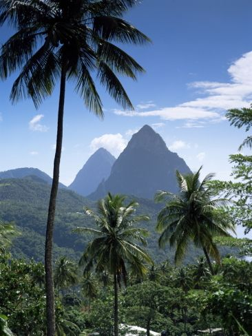 The Pitons, St. Lucia, Windward Islands, West Indies, Caribbean, Central America Photographic Print at Art.com