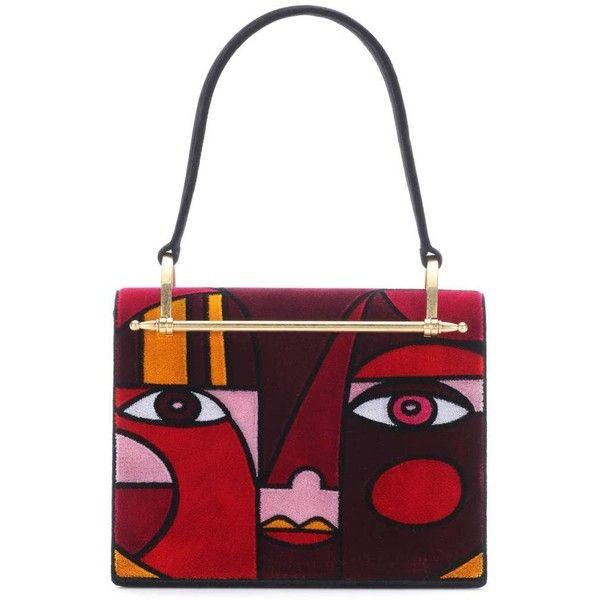 Prada Velvet Shoulder Bag ($2,980) ❤ liked on Polyvore featuring bags, handbags, shoulder bags, red, velvet handbag, white purse, red handbags, shoulder hand bags and multicolor handbags