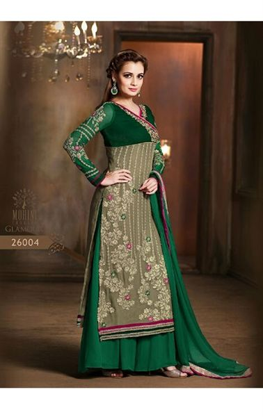 Aesthetic Green Bollywood Palazo Salwar Kameez                                                                                                                                                     More