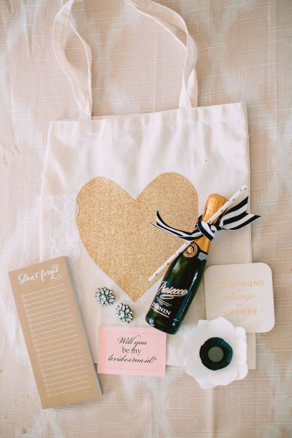 bridesmaids gift bag - STENCIL GOLD HEART YOURself include little gifts - special vegan one for amelia and personal keyrings