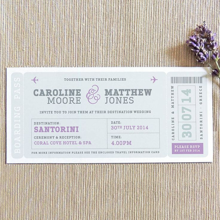 airline boarding pass wedding invitation by project pretty | notonthehighstreet.com