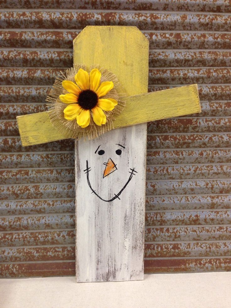 Wood Scarecrow Handmade With Hand Painted Face Amp Sunflower