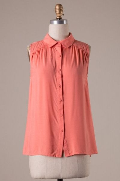 Sleeveless button up blouse - Mango