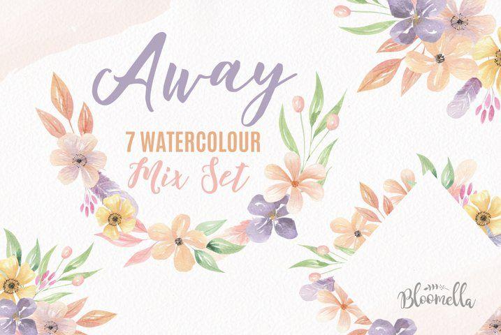 Away Watercolor Frames Mix Wreath Bouquets Flowers Pastels