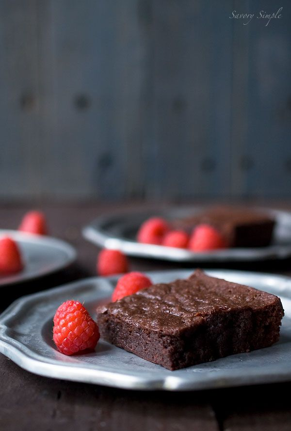 Dark Chocolate Raspberry Brownies Recipe @Tami Arnold White Healthier than mine probably... lol If we top it with fruit, ill feel less guilty when I eat it hahaha