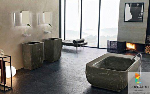 حمامات مودرن باللون الرمادي