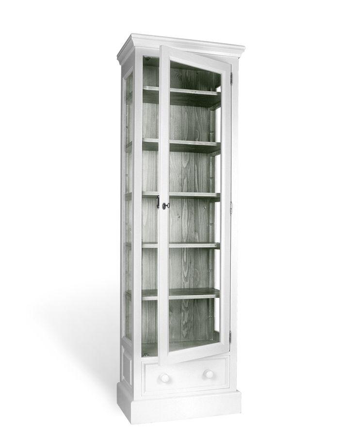 Buffetkast met glazen deur en lade afmeting H 200 cm x B 63 cm x D 41 cm - Inndoors Meubelen en Interieur