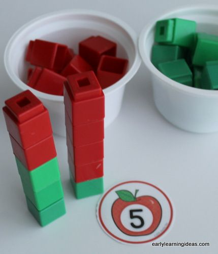 7 apple themed math ideas for kids. This article includes free numbered apple circles and many ideas to us them. Great for preschool, pre-k, kindergarten, and early childhood classroom math centers.