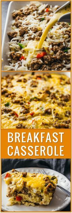 easy breakfast casserole, hash browns, overnight breakfast casserole, best breakfast casserole, sausage, bacon, biscuits, crescent rolls, healthy, brunch, cheddar cheese, eggs, milk, vegetables, recipe, idea via /savory_tooth/