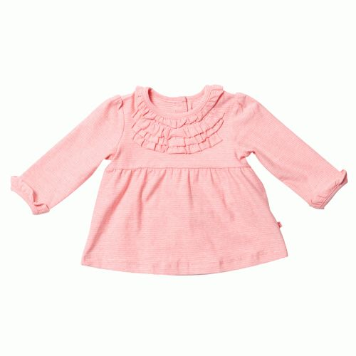 soft but warm swing top in coral stripe for little girls from bebe by minihahamade from cotton elastane it has two buttons at the back of the neck, with frills around the neckline and sleevesteam with the maple print woven pant for a complete bebe outfit or wear over leggings, skirts or pants $36.95