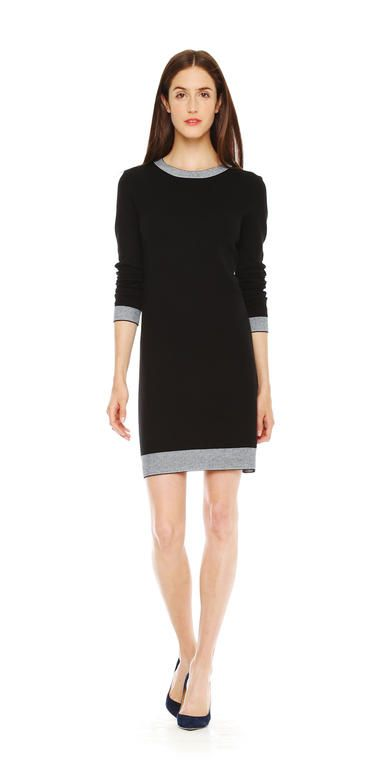 Stripe Trim Dress in Black from Joe Fresh