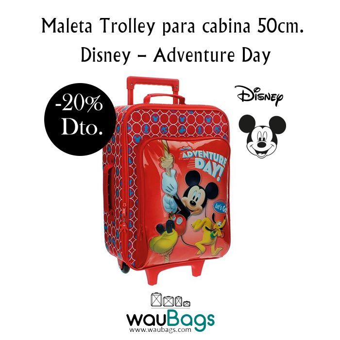"""¡¡Convierte sus viajes en una auténtica aventura con la Maleta Trolley semi-rígida """"Adventure Day"""" de Disney !! Además, con ella no tendréis que facturar, ya que sus medidas son las homologadas para poderla llevar en la cabina del avión.  @waubags.com #disney #mickey #pluto #maleta #trolley #cabina  #viaje #infantil #oferta #descuento #waubags"""