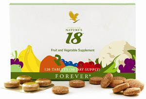Forever Nature's 18™ is a pleasant-tasting, easy-to-chew tablet that delivers your daily requirement of antioxidants from fruits and vegetables. A daily serving of Forever Nature's 18™ is your way of supporting your body with the fruits and vegetables it needs to maintain your health. Forever Nature's 18™ is Forever Living's way of assuring you that no matter what your day throws at you, the antioxidant benefits of 5 servings of fruits and vegetables are conveniently at your disposal!