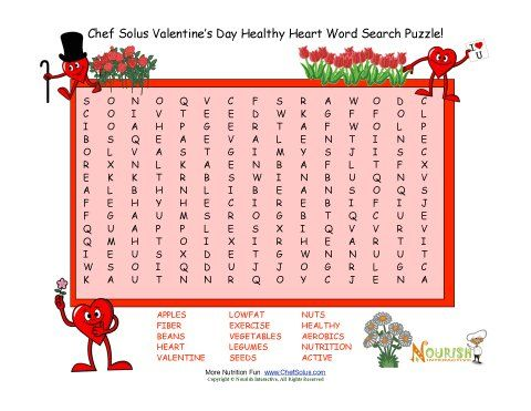 Fun Valentine 15 Words   Word Search Puzzles That Promote Healthy Foods And  Activities For The Heart.