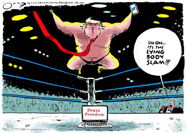 "Trump vs. Press Freedom, and he reveals his latest wrestling move -- ""Uh Oh, It's the Lying Body Slam!!!"" | Jack Ohman cartoon on GoComics"