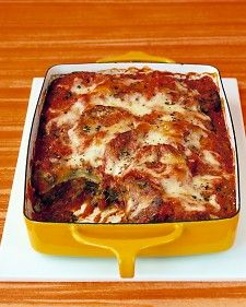 Baked Eggplant Parmesan ala Martha Stewart.  I made this tonight and it was by far the best baked eggplant recipe I've ever made!  I needed more egg and breadcrumb mixture than called for, and used homemede mozzarella.  Served atop Baked Spaghetti Squash Parmesan and the results were amazing!  My kids were licking their plates clean!