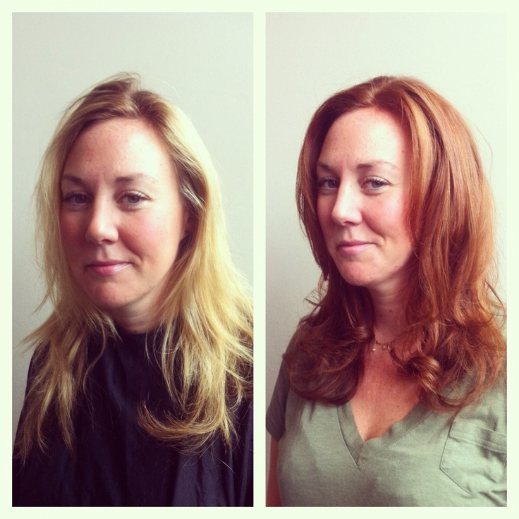 blonde to red transformation in the salon today <3