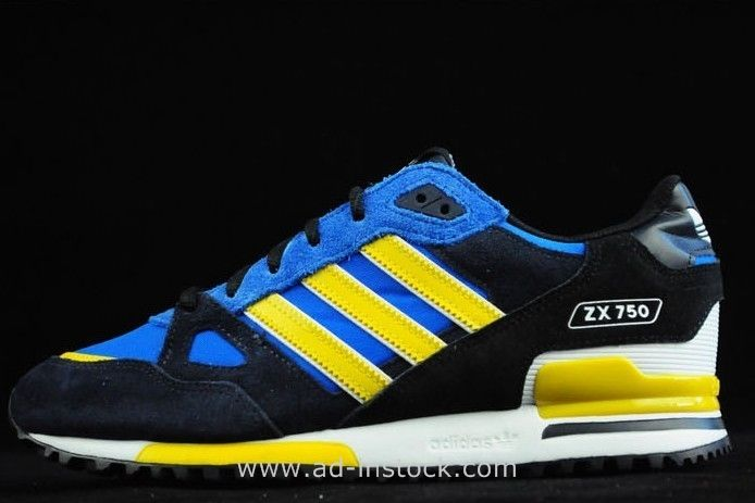11b814f740f41 Sale Adidas Originals ZX 750 Couples Running Shoes Black Blue Yellow Zx750  Adidas
