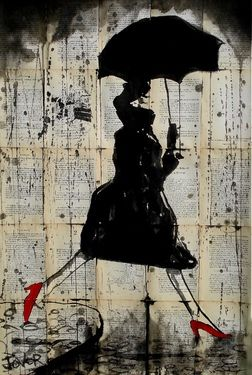 "Saatchi Online Artist Loui Jover; Drawing, ""rain, red shoes and avedon "" #art love the pop of red"