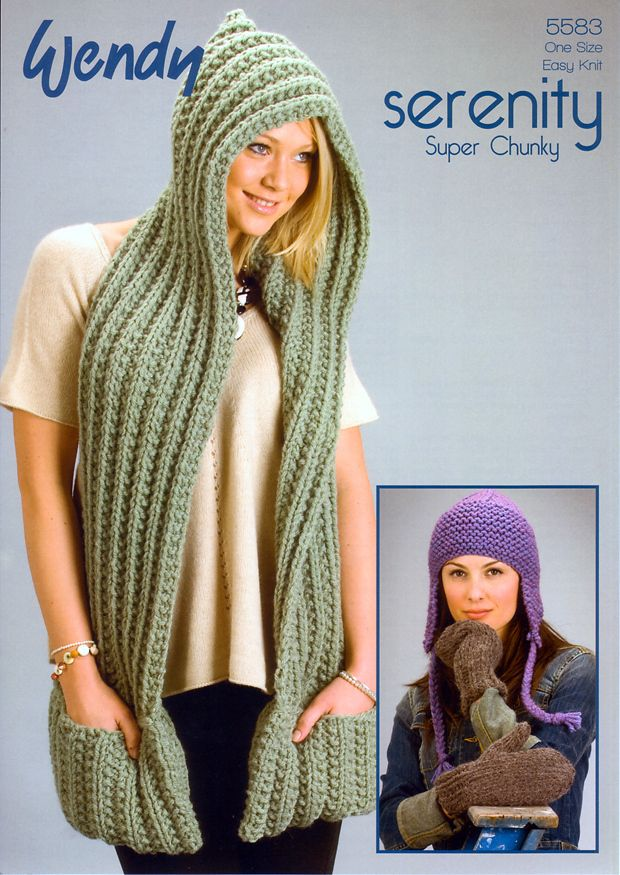 Knitting Pattern For Scarf Hood : Knitting Pattern Scarf with Hood, Mitts and Earflap Hat in Wendy Sere?