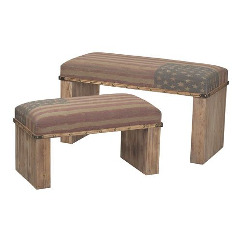 National Light Oak and Tea 20-Inch Bench, Set of 2