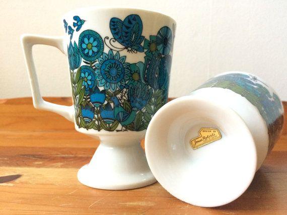 Mid-Century Modern Teacups / Flowers Birds Bees &