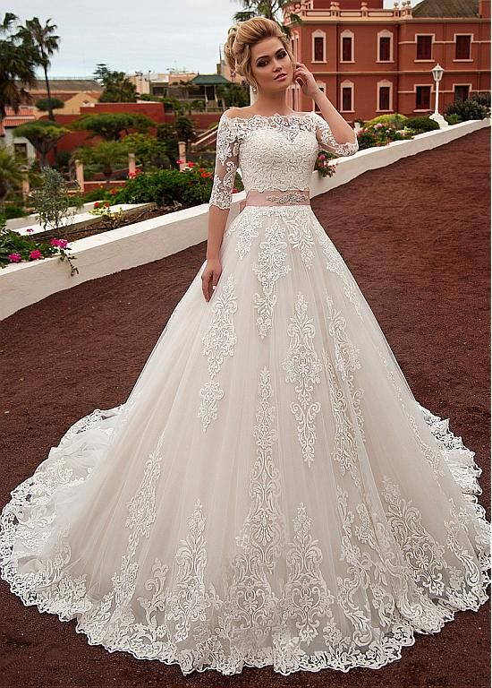 Magbridal Gorgeous Tulle & Organza Off-the-shoulder Neckline A-line Wedding Dress With Lace Appliques & Belt & Detachable Jacket