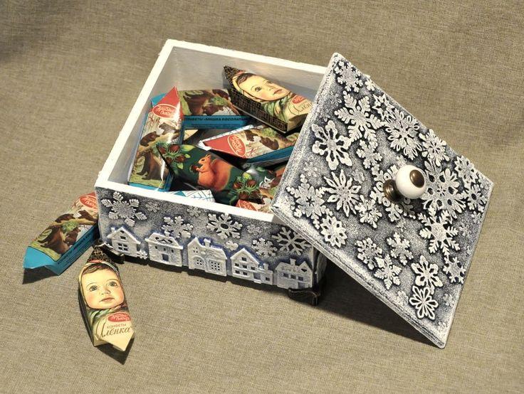 МК. В. Кисель.Декорируем деревянный короб для подарка