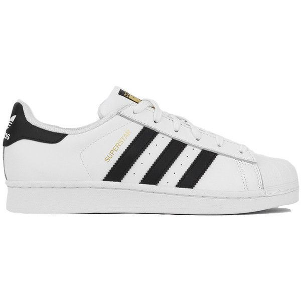Adidas Women's Superstar Shoes - Black/White found on Polyvore featuring shoes, lace up shoes, black and white striped shoes, adidas shoes, laced up shoes and short heel shoes