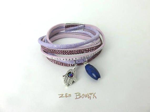 Bracelet Collier Lapis Lazuli Main de Fatma Multi rangs