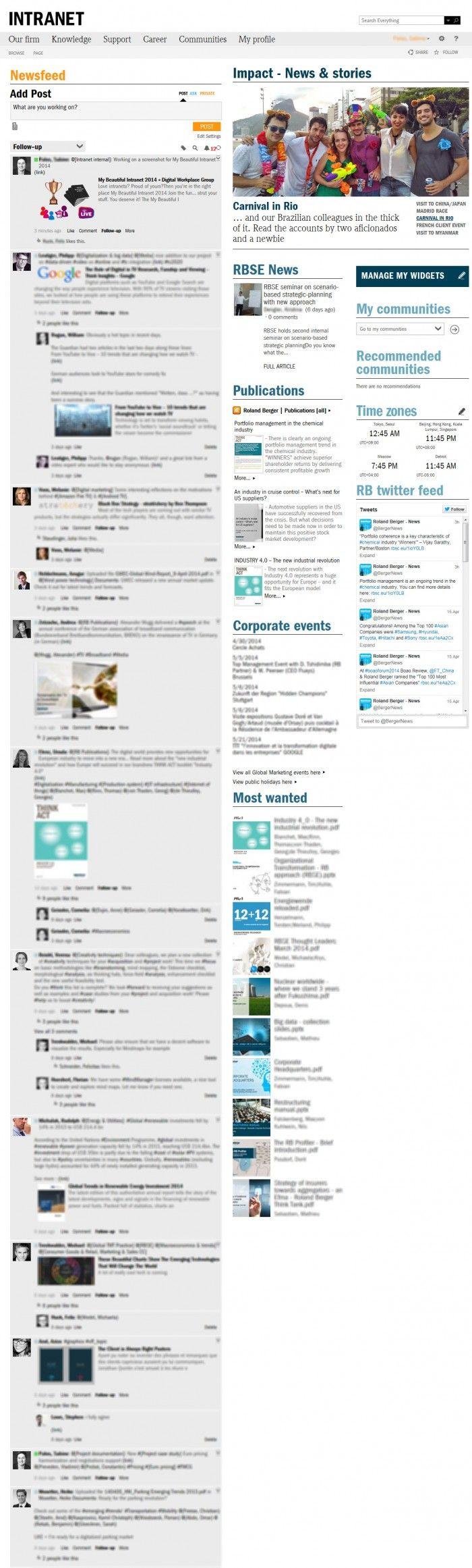 """[Muro de actividad. Red Social Corporativa]: Social intranet from Roland Berger Strategy Consultants - Presentado en """"My Beautiful Intranet 2014"""", DGW"""