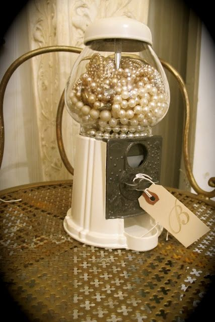 Would be cute vanity decor! Maybe a way to display inherited jewelry! Jewelry box gum ball machine from Country Roads Antiques & Gardens