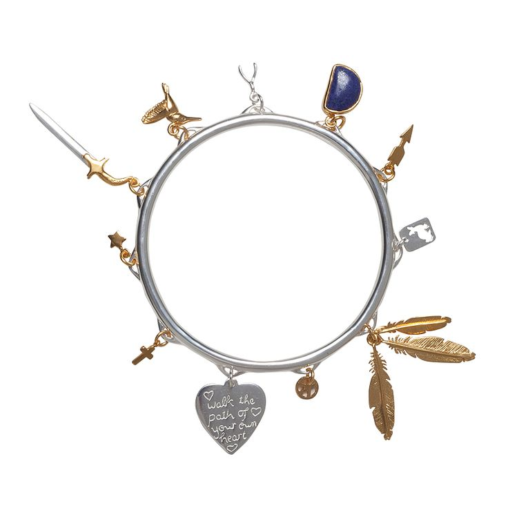 Metanoia Charm bangle - $210. Solid silver plated thin bangle, decorated with a mix of 18k gold plated charms, silver plated charms and a lapis lazuli inset charm. Lovingly designed in Brisbane by luxe label Angle Diamond Dot. www.savethelastpinker.com.au/shop/metanoia-charm-bangle/