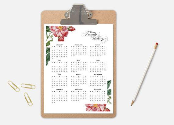 2016 Wall Calendar Printable Calendar Floral por TheWickedWall