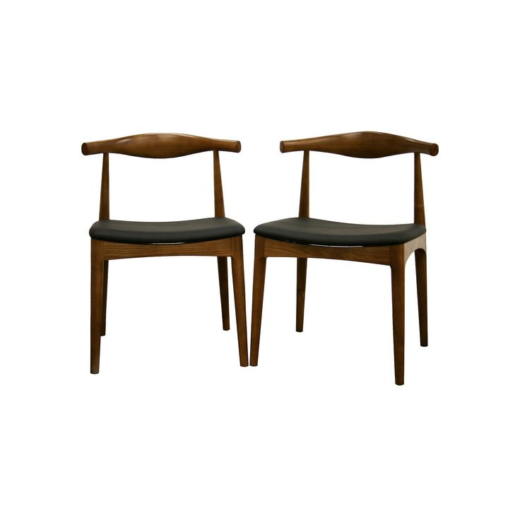Baxton Studio 2-Piece Sonore Mid-Century Dining Chair Set, Brown