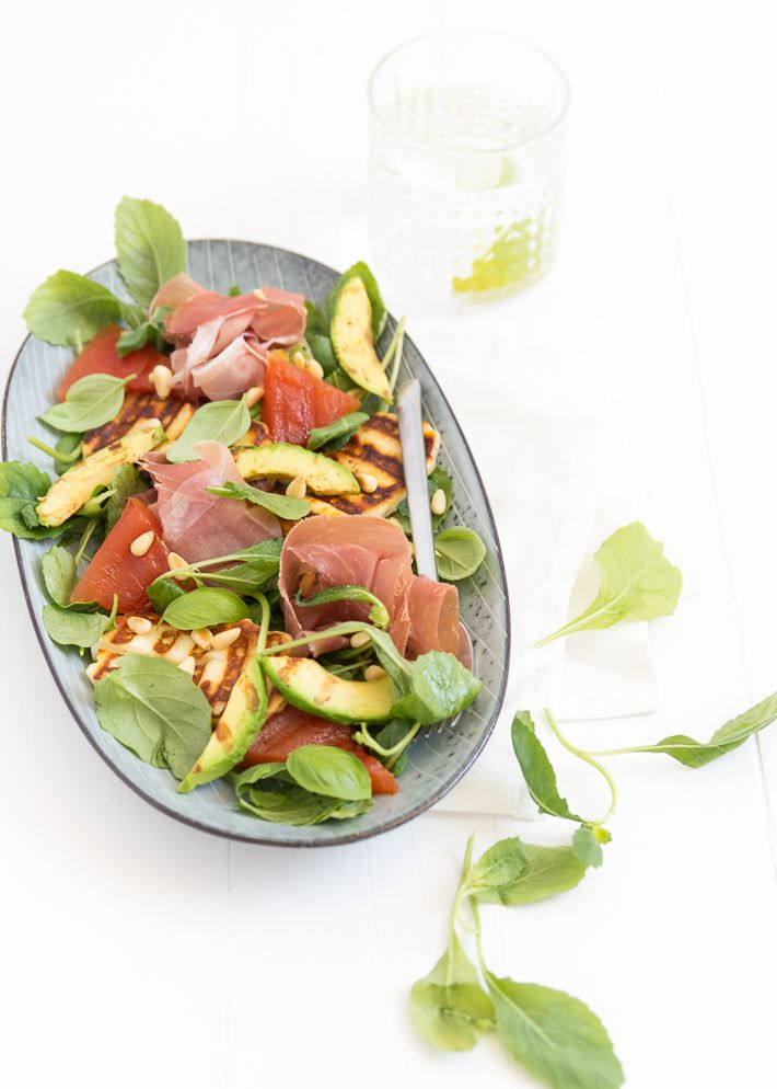Grilled watermelon halloumi salad