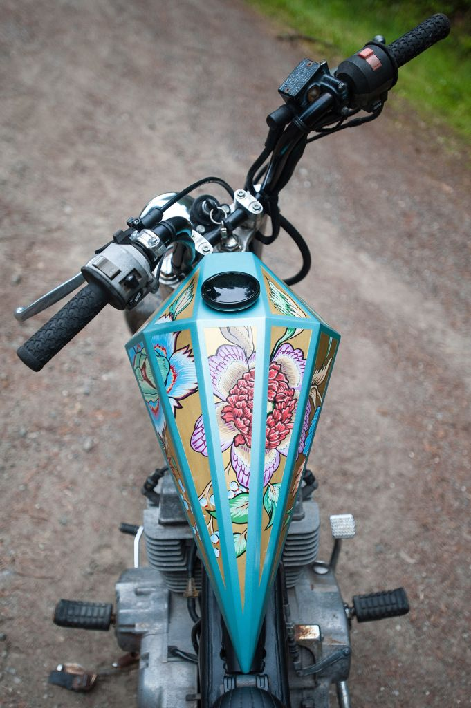 Leila Servellon's 1985 Honda Rebel sports a tank by Tank Lowbrow Customs that was painted by Jourdan Gullet of Chicago.