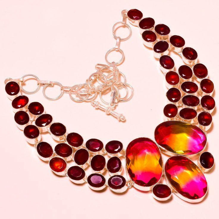 "AAA++ Multi Tourmaline With Mozambique Garnet Gemstone Jewelry Necklace 18"" #Handmade #Choker"