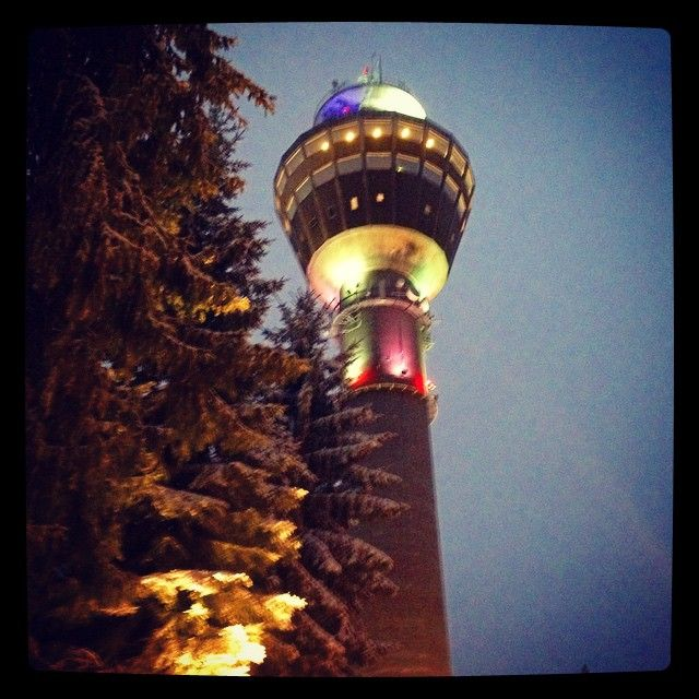 And behind the trees there it is.. Our permanent Christmas Tree :) #PuijonTorni #kuopio #Ilovekuopio #puijo #puijonmäki #puijotower