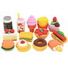 13 pz Kawaii Torta Hamburger Food Drink Eraser di Gomma di Frutta Set di Materiale Scolastico di Cancelleria Carino Novità Creativa del Regalo Dei Bambini(China (Mainland))