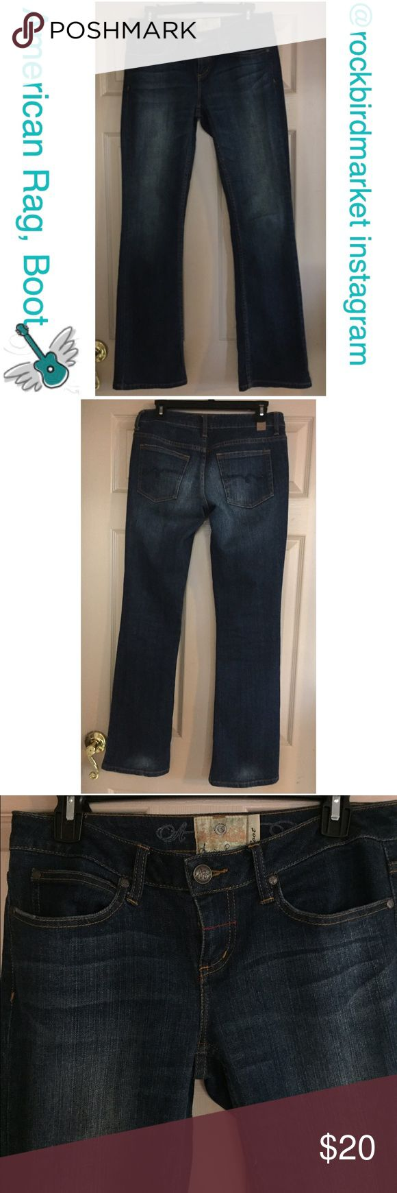 """American Rag jeans, ARC listed size is 5 Regular Great jeans in gently used condition. Waist is about 16"""" across laid flat. Inseam is about 32"""". Slight wear on bottom hem, otherwise they are near-perfect. American Rag Jeans Boot Cut"""